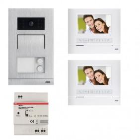 Kit de dos familias Video portero ABB manos libres 43 BÁSICO del sistema de WLK313B