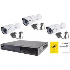 KIT Videosorveglianza Elvox AHD 4 canali con 3 telecamere Bullet 46550.413B