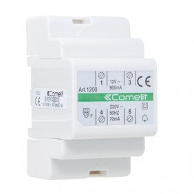 Comelit transformer with primary 230V secondary 12V AC / 15 VA for continuous use