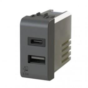 4Box 3.0A USB socket for Gewiss Chorus series Black 4B.G12.USB.30