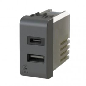 USB socket 4Box 3.0 for series Gewiss Chorus Black 4B.G12.USB.30