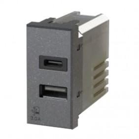 La toma USB de la 4Box 3.0 para la serie Bticino Axolute color Antracita 4B.HS.USB.30