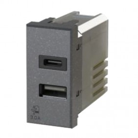USB socket 4Box 3.0A for Bticino Axolute series Anthracite 4B.HS.USB.30