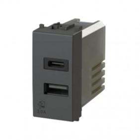 Presa USB 4Box 3.0A per serie Bticino LivingLight Antracite 4B.L.USB.30