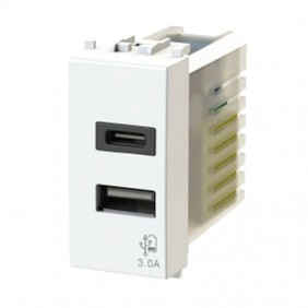 4Box 3.0A USB socket for Gewiss Chorus series White 4B.G10.USB.30