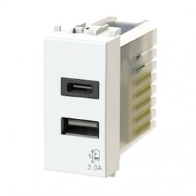 Presa USB 4Box 3.0A per serie Gewiss Chorus Bianco 4B.G10.USB.30