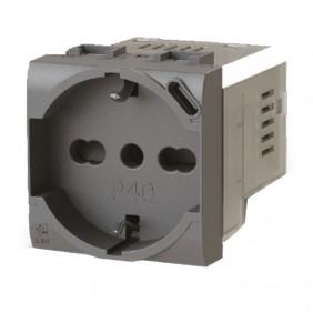 Vimar Arke Grey 4B.V19.P40 Bipass and Schuko 4Box P40 socket with USB 3.0A