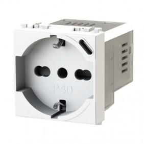 Toma de corriente de Derivación y Schuko 4Box P40 con USB 3.0 Vimar Plana 4B.V14.P40.USB