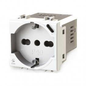 Bticino Livinglight 4B.N.P40 3.0A Bipass and Schuko 4Box P40 socket with USB 3.0A