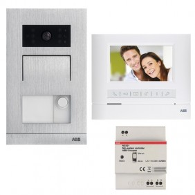 Abb colour videointercom kit with 2-wire single-family hands-free monitor