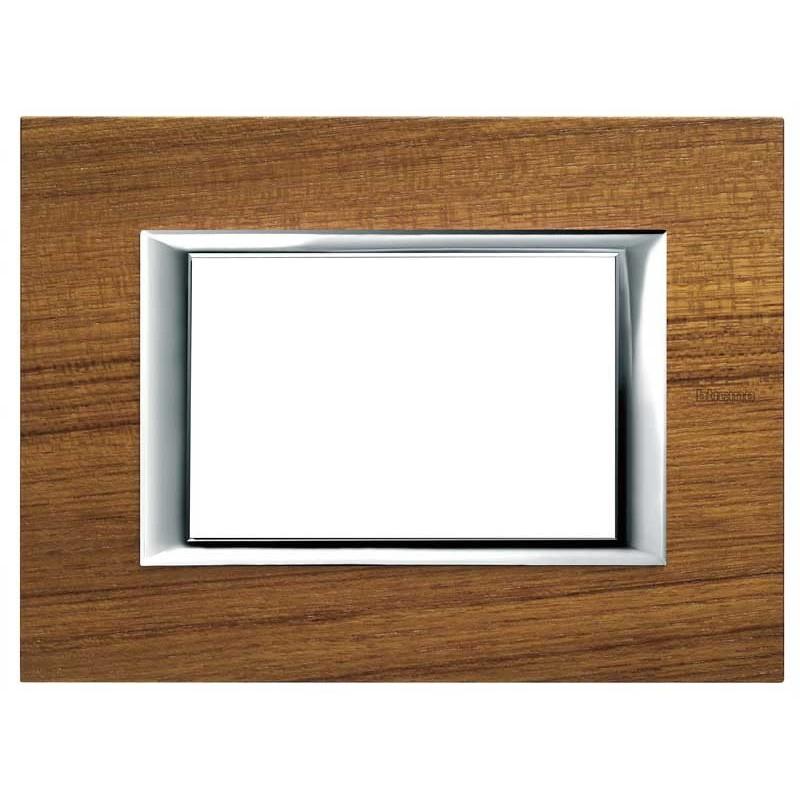 Bticino Axolute Placca 3 moduli legno Teak HA4803LTK