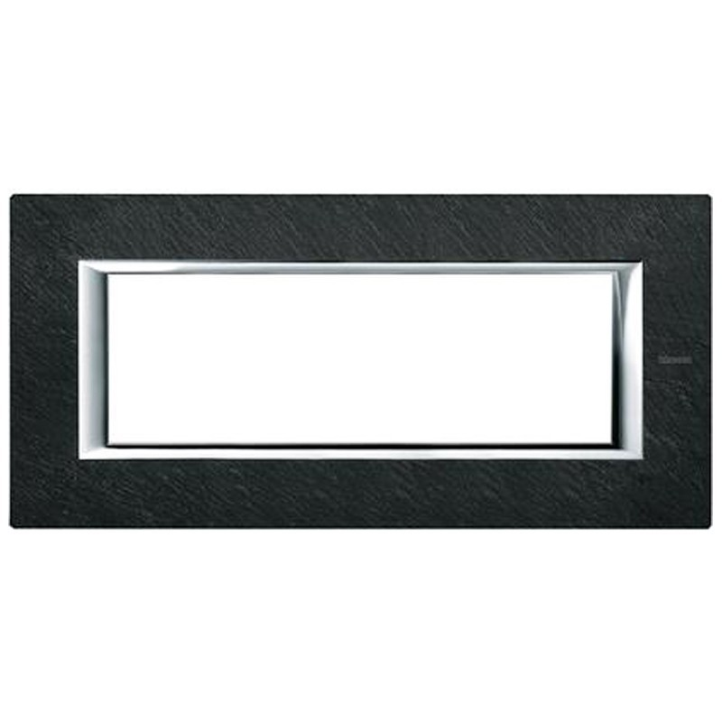 BTICINO AXOLUTE SWITCH PLATE 6-GANG SLATE STONE HA4806RLV