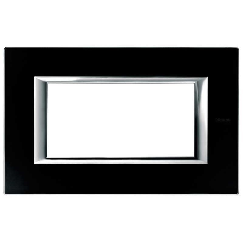 BTICINO AXOLUTE PLATE, 4-GANG, GLASS BLACK NIGHT HA4804VNN