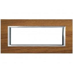 Bticino Axolute Placca 6 moduli legno Teak HA4806LTK