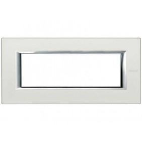 BTICINO AXOLUTE SWITCH PLATE 6-GANG SILVER HA4806SAN