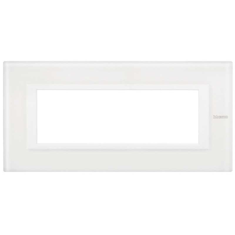 BTICINO AXOLUTE SWITCH PLATE 6-GANG WHITE GLASS HA4806VBB
