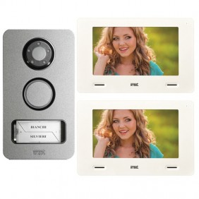 Urmet Mini Note 2-Wire 2-Wire Semi-Family Mikra Video Doorphone Kit and 7 Inch Monitor 1722/86
