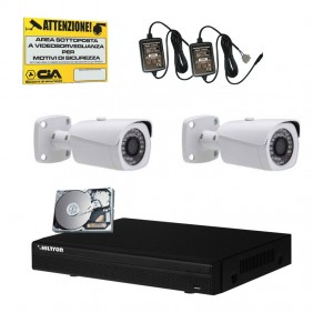 Hiltron DVR Hard Disk Drive Video Surveillance Kit and two THK2810HD cameras