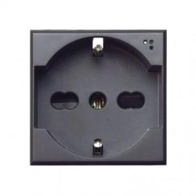 Schuko socket Ave Tekla bypass 10/16A, black colour 445090/15TS