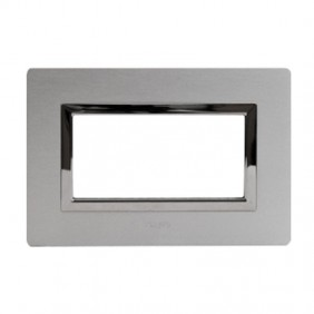 Plaque Ave Real System 44 in Aluminium, 4-gang, aluminum, natural brushed 44PA4ALS