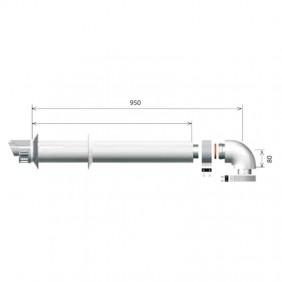 Ariston coaxial drain kit l 1000 horizontal 60/100 3318073