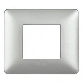 Placca Bticino Matix 2 moduli silver AM4802MSL