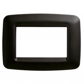 Black Gewiss Playbus 3-seater plate GW32303