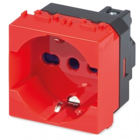 Master MIX two-way 2P+E red Schuko socket 21170R