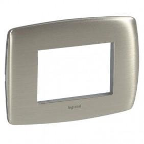 Plate Lergrand Vela round brushed aluminium 3...