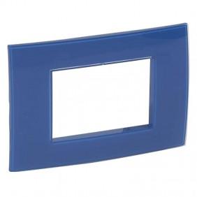 Plate Legrand Vela square blue cobalt 3 modules...
