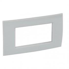 Plate Bticino Legrand Vela square 4 places gray...