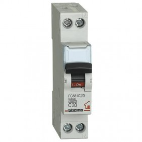 BTICINO CIRCUIT BREAKER 20A 1+N 4.5 KA FC881C20