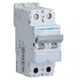 Circuit breaker Hager 2P 10A 6 KA C 2 modules...