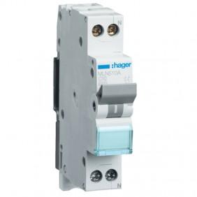 Circuit breaker Hager 1P+N 10A 6K A C 1 module...
