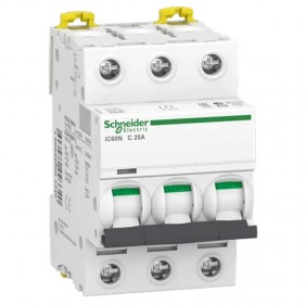 Circuit breaker 3P 25A 6 KA C 3 modules A9F79325