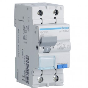 Hager 1P+N 30MA 32A magnetothermal residual...