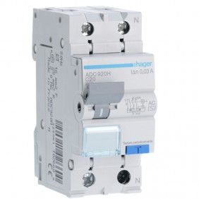Hager 1P+N 30MA 20A magnetothermal residual...