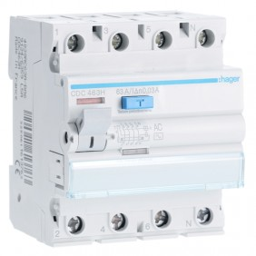 Hager differential switch 4P 63A 30MA AC 4...
