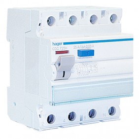 Hager residual current circuit breaker 4P 25A...
