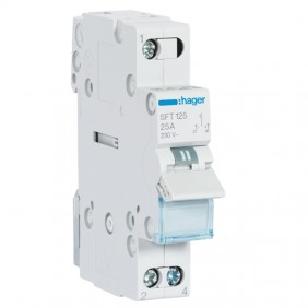 Hager switch 1-0-2 1 pole 25A 1 module SFT125
