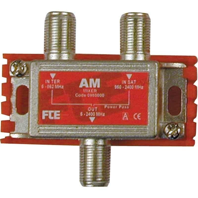 Miscelatore FTE passivo a due ingressi 1 terrestre e 1 SAT con passaggio di corrente