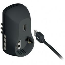 Adattatore B3 2 prese 10A 1 presa tedesca 1 USB alimentata e spina 10A antracite S3613GU