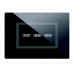 Placca Ave Touch in vetro 3 moduli Per 3 comandi a scomparsa colore Nero finitura lucida 44PVTC3NAL