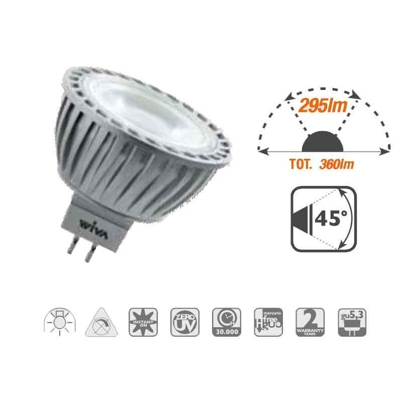 LAMPADA A LED DICROICA WIVA GU5,3 5W 12V 3000K 295 LUMEN 45° 12100206