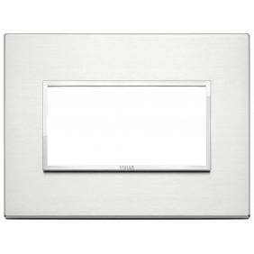Placca Vimar Eikon Evo 4 moduli Alluminio Brillante 21654.01