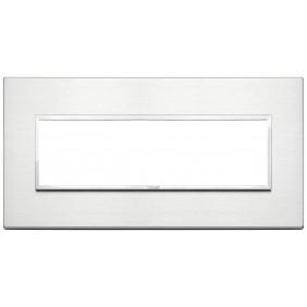 Placca Vimar Eikon Evo 7 moduli Alluminio Brillante 21657.01