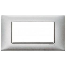 Placca Vimar Plana 4 Moduli argento metallizzato 14654.71