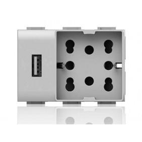 Presa Elettrica Universale Bipasso e Schuko e USB 3 moduli Side 4Box Unica per Vimar Plana