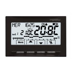 Cronotermostato Perry nero a incasso display LCD a batterie 1CRCDS28